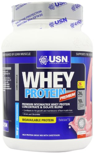 USN 100% Whey Protein 908 g Strawberry Muscle Development and Recovery Shake Powder
