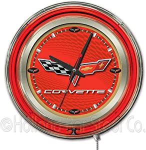 Corvette - C6 15 Double Neon Ring Logo Wall Clock Color: Red Gold by Holland Bar Stool