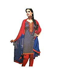 Ali Colours Cotton Embroidered Casual Wear Printed Suits For Women - B00WUN60F4