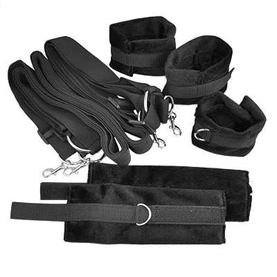 SODIAL(R) Black Under Bed Restraint System with Faux Fur Cuffs - hidden secret bondage set