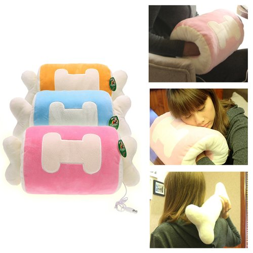 45 X 22Cm Cute Pink Plush Bone Pillows Usb Rechargeable Hand Warmer front-1033270