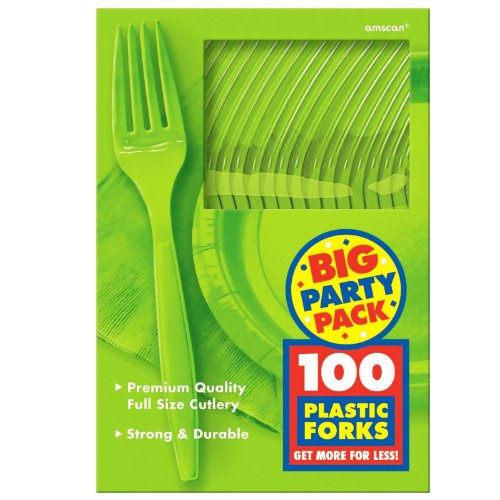 Amscan Big Party Pack 100 Count Mid Weight Plastic Forks, Kiwi