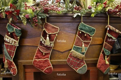 """Wallmonkeys Peel and Stick Wall Graphic - Stockings on a Mantle - 24""""W x 16""""H"""