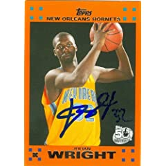 Julian Wright Autographed Hand Signed Basketball Card (New Orleans Hornets) 2007...