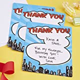 Ginger Ray Superhero Thank You Cards x 10 - Pop Art Birthday
