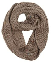 Dry77 Knitted Solid with Colorful Dots Infinity Loop Scarf, Brown