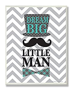 The Kids Room by Stupell Dream Big, Little Man on Grey Chevron Rectangle Wall Plaque