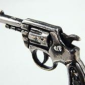 拳銃 ピストル SV925シルバー 手造り ダイヤ ルビー ペンダント ブラックスピネル ネックレス 燻し仕上げ