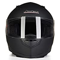 ILM Full Face Motorcycle Street Bike Helmet with Removable Winter Neck Scarf + 2 Visors DOT (M, Matte Black) by ILM