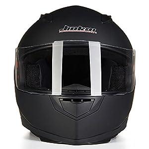 ILM Full Face Motorcycle Street Bike Helmet with Removable Winter Neck Scarf + 2 Visors DOT (M, Matte Black) by ILM