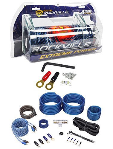 Rockville RXC4D 4 Farad/12 Volt Digital Power Capacitor+RWK41 4 AWG Amp Wire Kit (3 16 Split Loom compare prices)