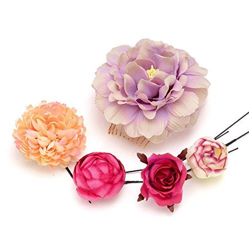髪飾り Uピン・コーム5点セット 花に蕾 薄紫