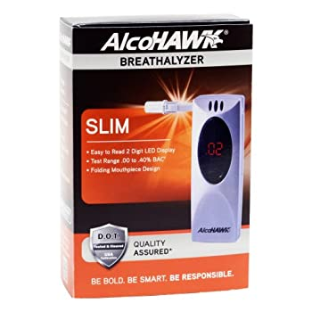 The AlcoHAWK Slim, a newly-released digital breath alcohol screener, is a compact unit with a sleek design.  Operating on a single button, simply blow into the folding mouthpiece for an accurate BAC reading in seconds.The AlcoHAWK Slim includes remov...