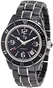 Lucien Piccard Women's 27110BK Celano Mid Size Automatic Diamond Accented Black Dial Black Ceramic Watch