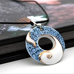 Exquisite Blue Porcelain Necklace with Round Ring Pendant Jewelry by TJSpecia
