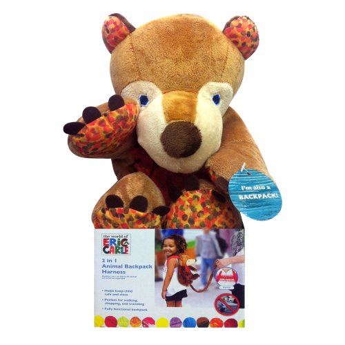 Eric Carle Bear Backpack, Children's Safety Harness, Plush and Machine Washable, Polyester, Brown