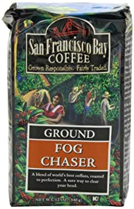 San Francisco Bay Coffee Ground, Fog Chaser, 12 Ounces (Pack of 3)