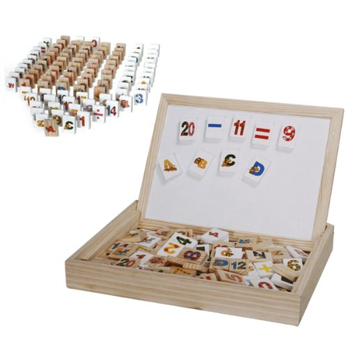 Wooden Alphabet Number Blocks w/ Case Magnetic Double Sided Drawing Board Toy