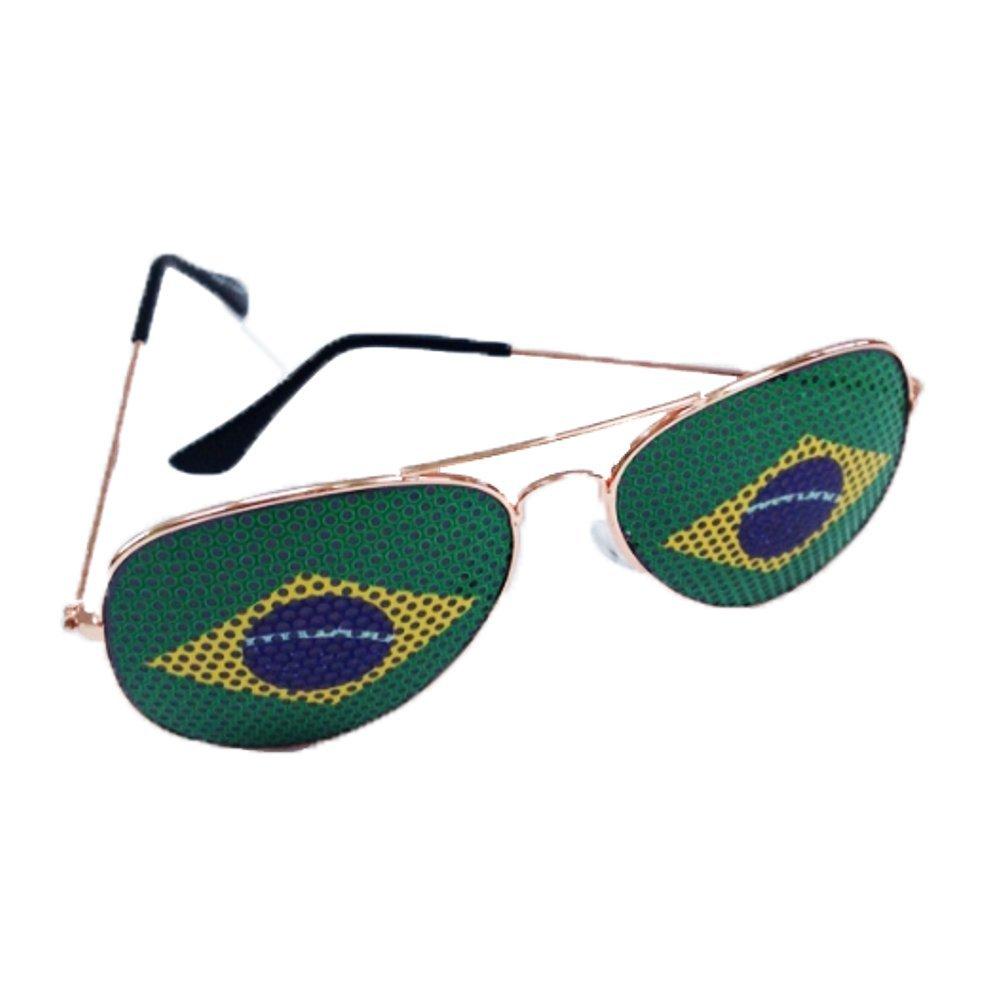 Aviator Sunglasses with Brazil Flags