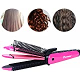 Mannice Comb & Hair Curler & Hair Straightener & Curling Iron & Crimping Iron 4 In 1 Ceramic Hair Iron Professional...