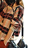 (ケイグラッソ)K-grasso+ 2015 秋 冬 レトロ 調 チェック 格子 柄 ざっくり ゆる ニット 長袖 セーター レディース ファッション トップス カットソー 【 選べる 2色 】 (01. オレンジ系)