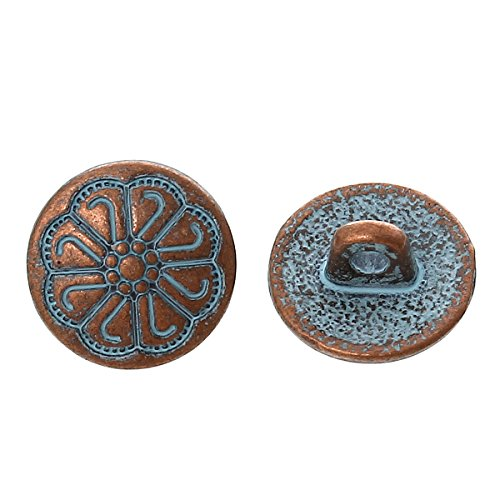 pepperlonely-brand-10pc-metal-shank-button-round-antique-copper-spray-painted-blue-single-hole-flowe