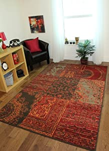 Milan Red, Brown, Orange & Grey Traditional Rug 1572-S52 - 5 Sizes from The Rug House