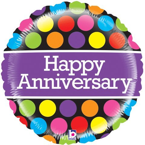 "Happy Anniversary Mighty Polka Dots 21"" Mylar Foil Balloon - 1"