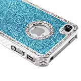 Light Blue Luxury Bling Glitter Diamond Chrome Rhinestone Hard Case for iPhone 4 4G 4S