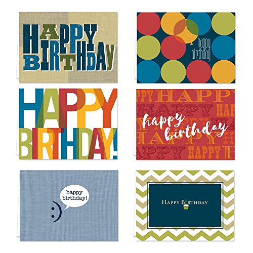 Snappy Birthday Note Card Assortment Pack - Set of 36 cards per package - 6 designs blank inside - with white envelopes (53877)