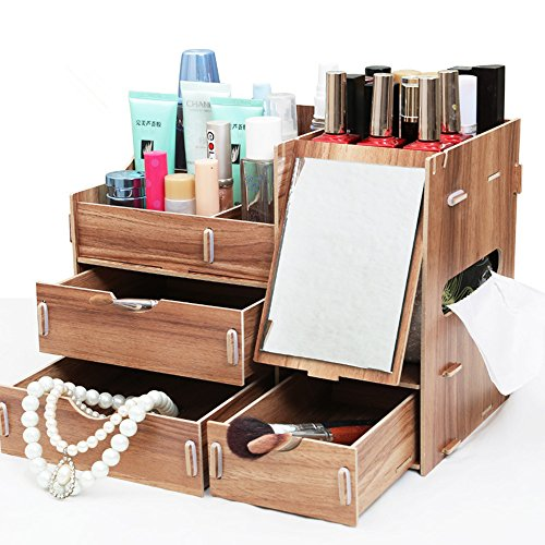 PhantomSky Creative Wooden DIY Storage Box - Perfect 3 Layers Desktop Box with Mirror and 3 Drawers for Your Makeup and Jewelry (Wooden Countertop Drawers compare prices)