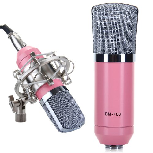 Excelvan® Condenser Microphone Recording Mic With Shock Mount Bm-700 Ideal For Radio Broadcasting Studio, Voice-Over Sound Studio And Recording-Pink