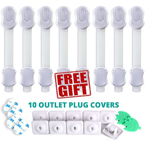 Baby Proofing. 8 Cabinet Latches Plus 10 Electrical Outlet Covers . Child Safety Locks for: Kitchen, Toilet, Cabinets, Cupboards and Drawers. FamilyPro Baby Safety Products Kit