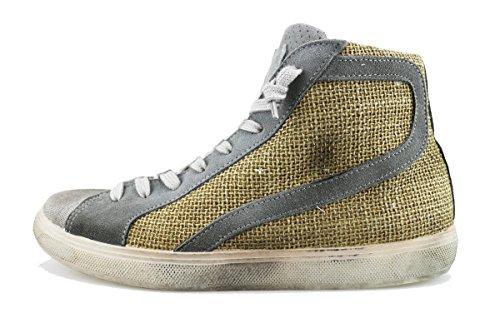 BEVERLY HILLS POLO CLUB sneakers uomo beige grigio camoscio tela AG167 (42 EU)