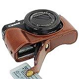 FIRST2SAVVV XJD-G7XII-D10 ダークブラウン Canon PowerShot G7 X Mark II .G7X M2 専用 PU 半分レザー レフ カメラバッグ カメラケース