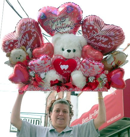 """GIANT VALENTINE BALLOON BOUQUET - 40"""" 3 & 1/4 FEET-LONG VALENTINES DAY TEDDY BEAR AND BALLOON BOUQUET CENTERPIECE - 20 Total Balloons and Large Soft Teddy Bear in a ONE-PIECE - ABSOLUTELY HUGE VALENTINE GIFT"""