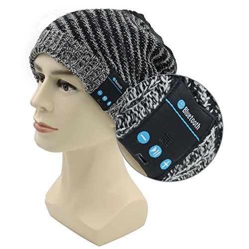 Bluetooth Hat 007plus Wireless Bluetooth Beanie Headphones Music Hat with Built-in Stereo Speakers For Running travelling (Black-Gray)