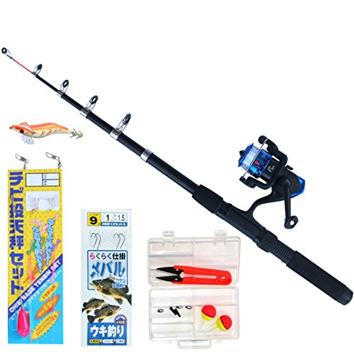 TOISTAX 釣具 よくばり セット 2m 釣り竿 ロッド リール 200A (基本セット( ロッド & リール + ちょい投げ仕掛 + メバルウキ釣り仕掛 + オモリ3個 + ウキゴム3個 + エギ + 小物ケース + ハサミ )200A-29) -
