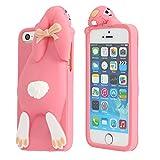 Moonmini®(ムーンミニ)iPhone 6 Plus/6s Plus 5.5inch アイフォン6 プラス/6s プラス 5.5インチ ソフトシリコンケースカバー 保護シェル 3D 可愛い反っ歯ウサギデザイン【並行輸入品】