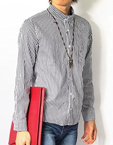 (リピード) REPIDO シャツ メンズ カジュアルシャツ ブロードシャツ 長袖シャツ メンズシャツ スタンドカラー 変形シャツ 変形襟 ストライプ(太)/グレー L