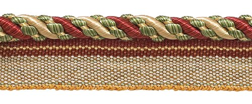 "Best Buy! Medium Wine, Gold, Green 4/16"" Imperial II Lip Cord Style# 0416I2 Color: CHERRY GROVE..."