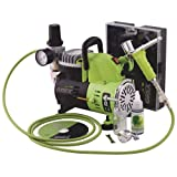 Grex GCK01 Combo Kit with Genesis.XT and AC1810-A Air Compressor Airbrush (Color: Green)