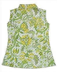 RANGREJA Tropical Dress for Girls Tea Green