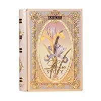 Basilur   Love Story Collection   Tea Book Volume II   Black & Green Tea with Natural Amaranth and Flavors of Almonds & Rose   Collectable Metal Caddy   Loose Leaf Tea   Gift of tea ( 1 Pack )