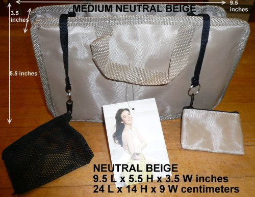 $ 13.99 FREE SHIP USA NEW NEUTRAL BEIGE Handbag Bag/Purse/Tote Insert Organizer Addon  SWITCH BAGS IN SECONDS!