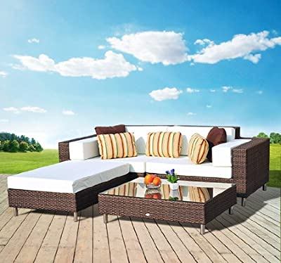 Outsunny All Weather Garden Rattan Furniture 2 Seater Sofa Settee Daybed Patio Sun Lounger with Stools Aluminum Frame Fire Retardant Sponge