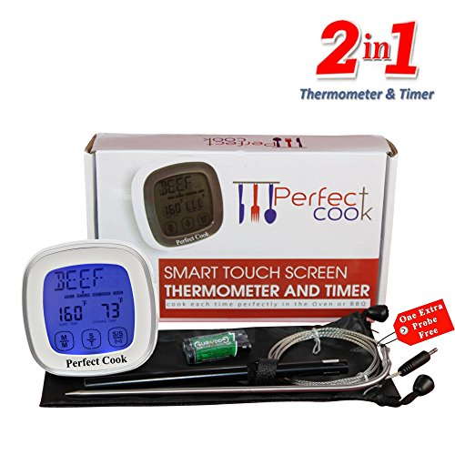 Perfect Cook - Best Digital Meat Thermometer & Cooking Timer, with Best Stainless Steel Probe to Leave in Oven, BBQ Cooking, Grilling, Turkey or Smoker And Easy to Use Count down/Up Kitchen Timer (Toster Oven Parts compare prices)