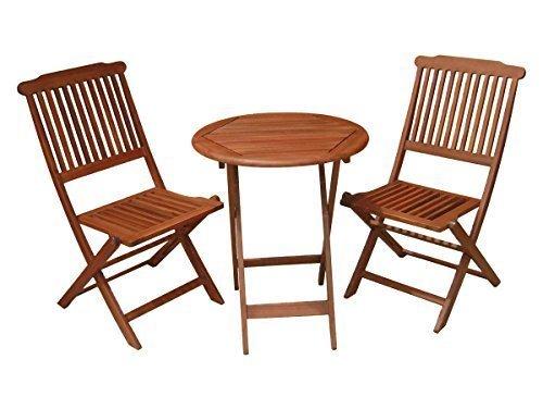 Gartenmöbel Set Sitzgruppe Garten Bistro Set Balkon Sitzgruppe Holz braun - sehr hochwertig verarbeitetes Set Balkon Garten Möbel 2 Klappstuhle 1 Klapptisch