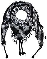 Freak Scene® Foulard palestinien/keffieh en coton - couleur de base noire - 100 x 100 cm - Large palette de couleurs!
