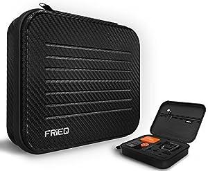 FRiEQ Funda GoPro Premium, Tamaño Mediano Resistente al agua, Funda GoPro para llevar para Gopro Hero 4, Black, Silver, Hero+LCD, 3+, 3, 2 y accesorios--Ideal para viajes o para almacenamiento